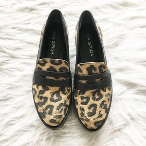 Via Spiga Leopard Leather Platform